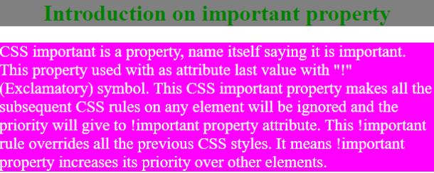 CSS Important output 1