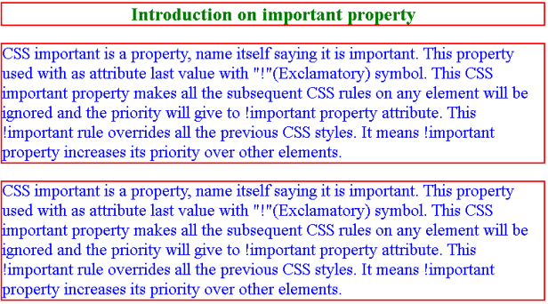 CSS Important output 2