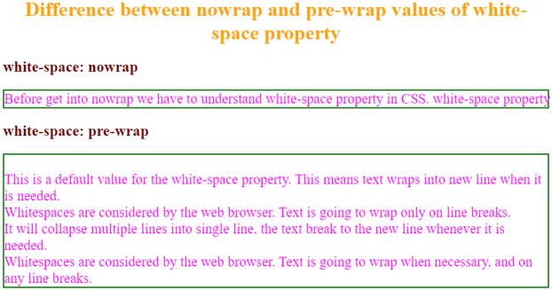 pre-wrap values