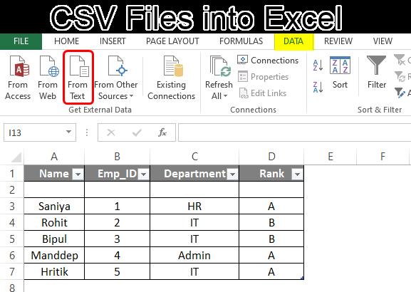 CSV Files into Excel