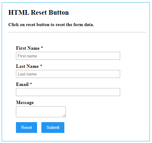 HTML Reset Button Example 1