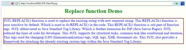 JSTL replace Example 1