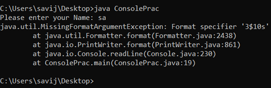 Java Console Example 3