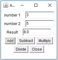 Java GUI Framework output 2