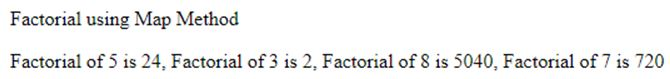 print the factorial of numbers