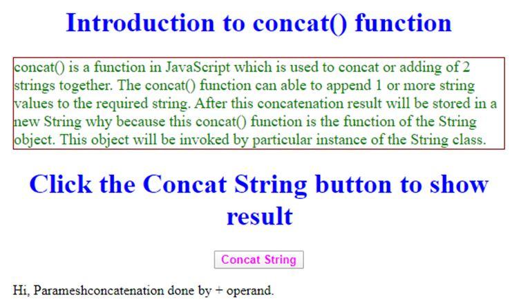 JavaScript concat String 2