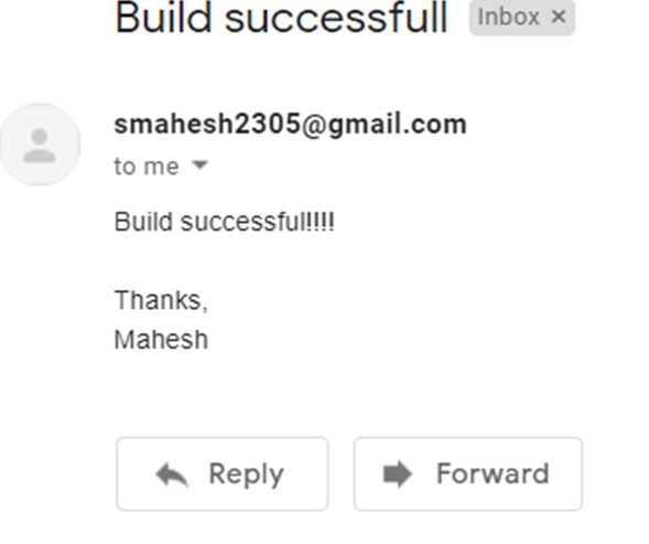 email was received as soon as build event was successfull