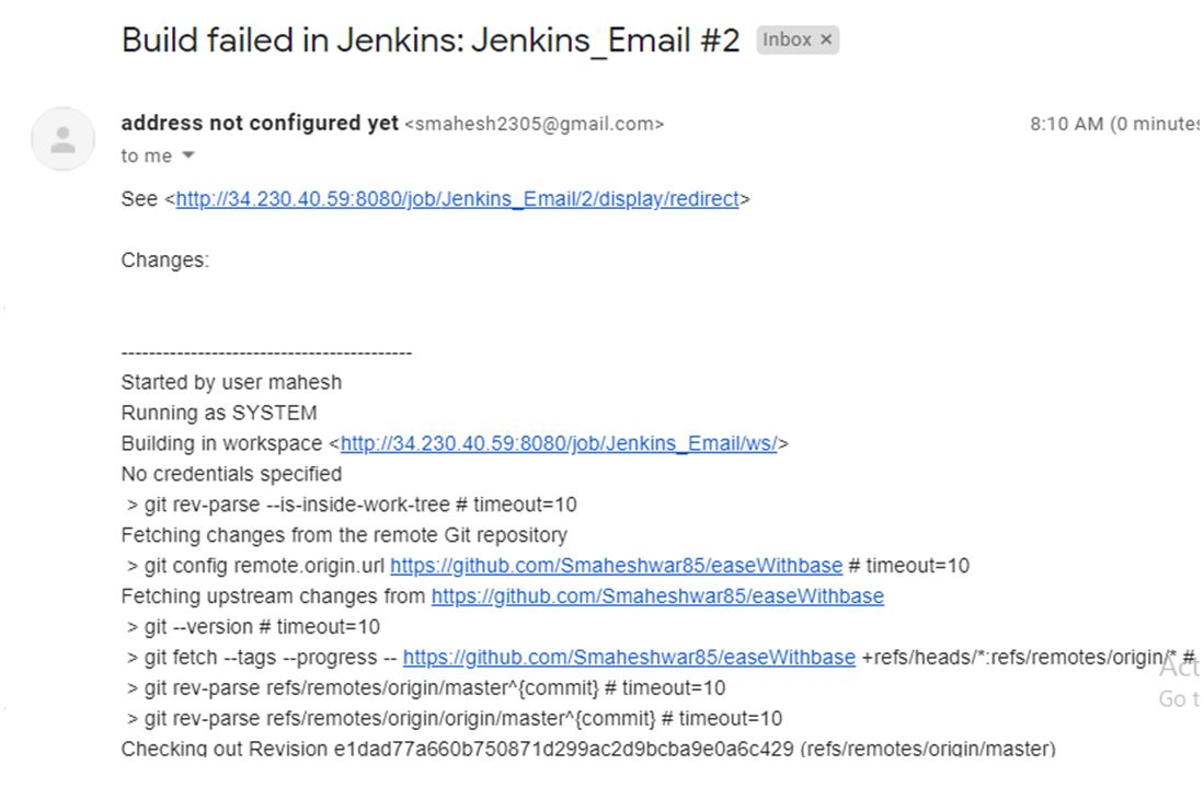 build failure notification as failure