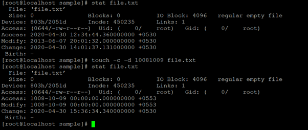 Linux Touch Command Example 8