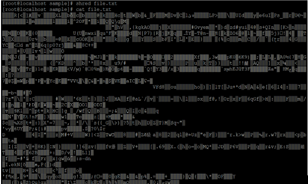 Linux shred output 2