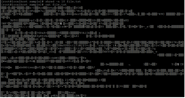 Linux shred output 3