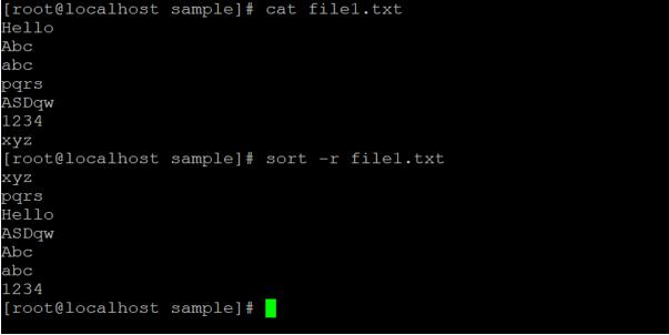 Linux sort Command output 5