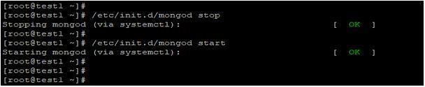 restart of MongoDB