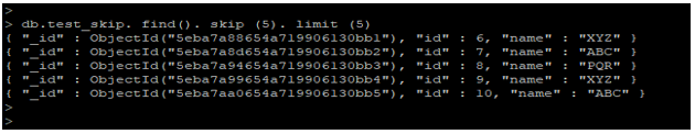 MongoDB Skip() output 3