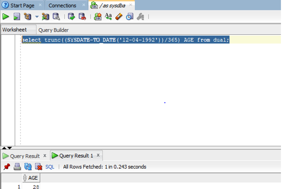 Oracle SYSDATE() - 2