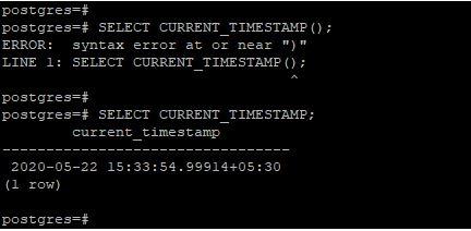 PostgreSQL CURRENT_TIMESTAMP()3