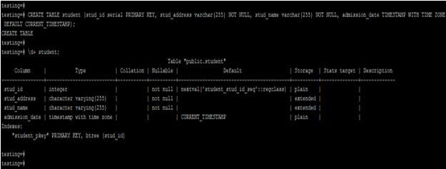 default current timestamp