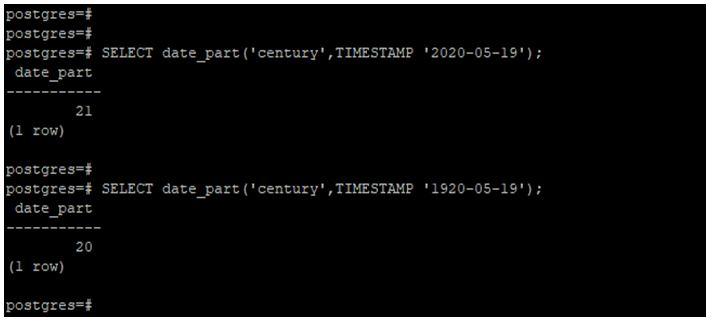 PostgreSQL DATE_PART() 1
