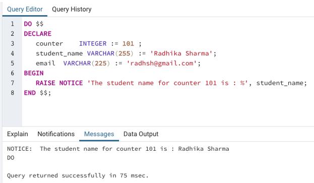 SQL Variables output 1