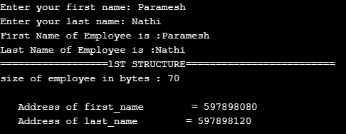Structure Padding in C Output 2