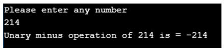Unary operator in c 1