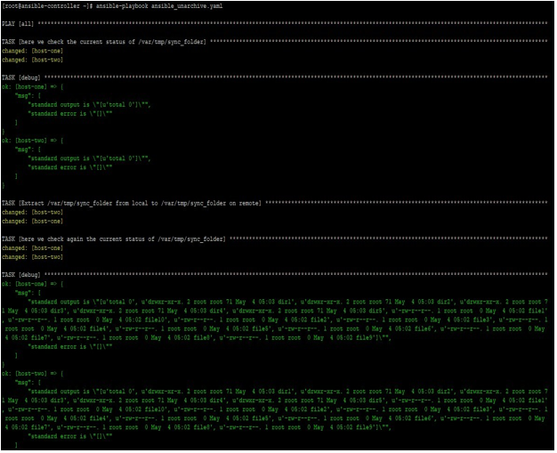 ansible unarchive output 1