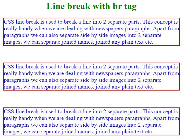 css line break output 1