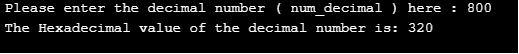 decimal to hexadecimal in c2