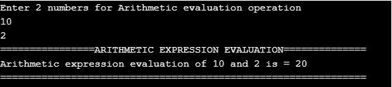 Arithmetic Expression evaluation