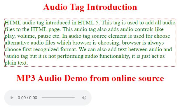 html audio tag output 1