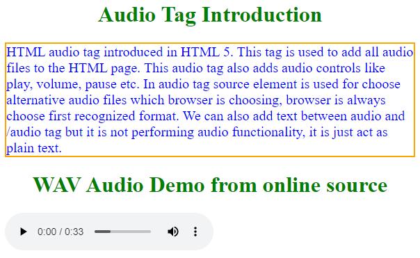 html audio tag output 2