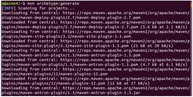 maven archetype output 1