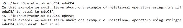 shell script operators output 2
