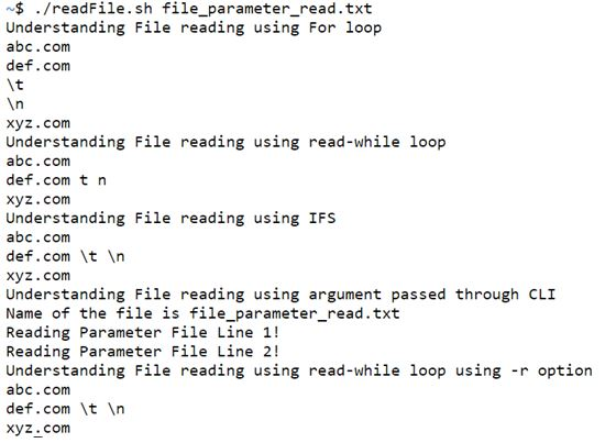 shell script read file