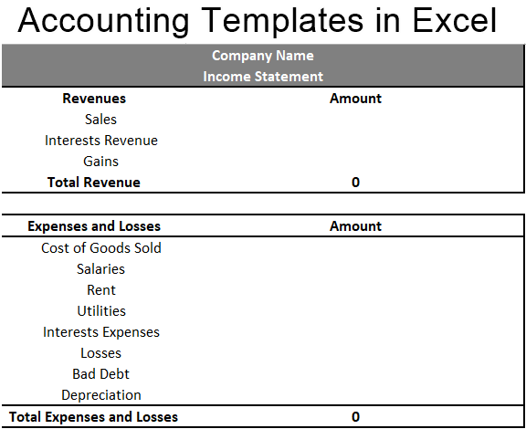 Accounting Templates in Excel 1