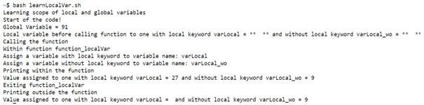 Bash Local Variables Example