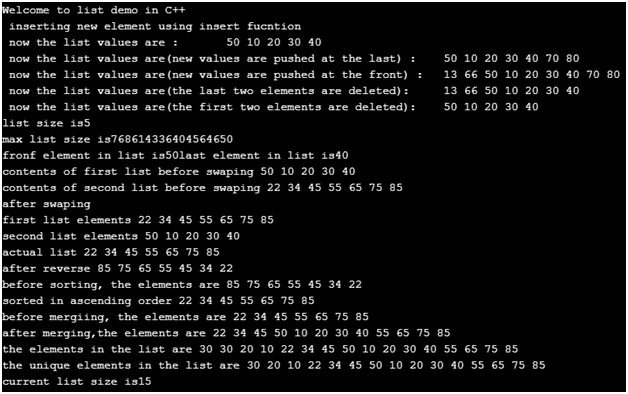 C++ List Example 1