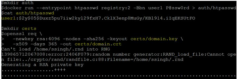 by generating an 'htpasswd' file and self-signed certificates