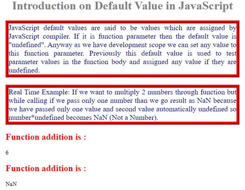 JavaScript Default Value 1