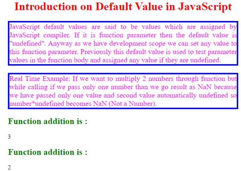 JavaScript Default Value 2