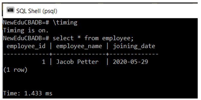 get the execution time of the SQL query