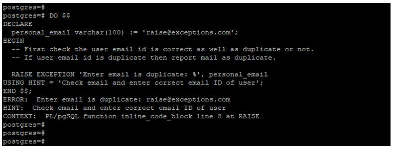 PostgreSQL RAISE EXCEPTION 2
