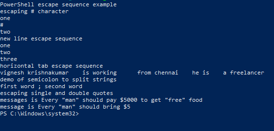 PowerShell Escape Character - 8