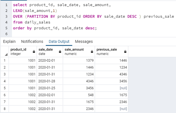 SQL LEAD() - 4