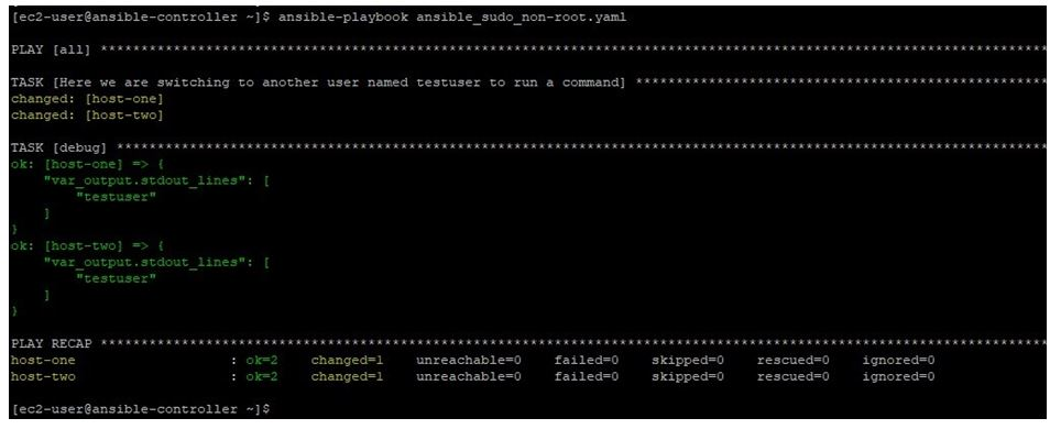 running this playbook as ec2-user with become parameters