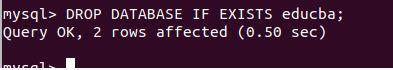 delete database mysql8