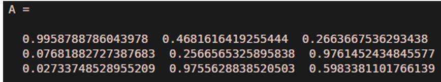 Create the input array of random numbers