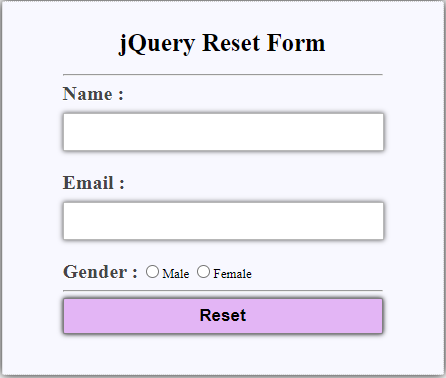 jQuery Reset Form-2.1