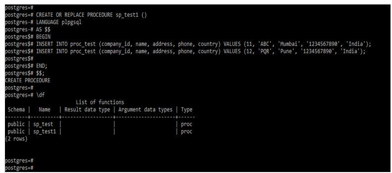 postgreSQL Stored Procedures 3