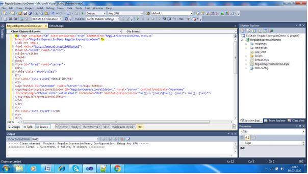 code in .aspx file